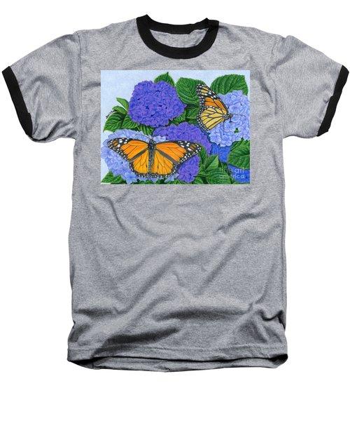 Monarch Butterflies And Hydrangeas Baseball T-Shirt by Sarah Batalka