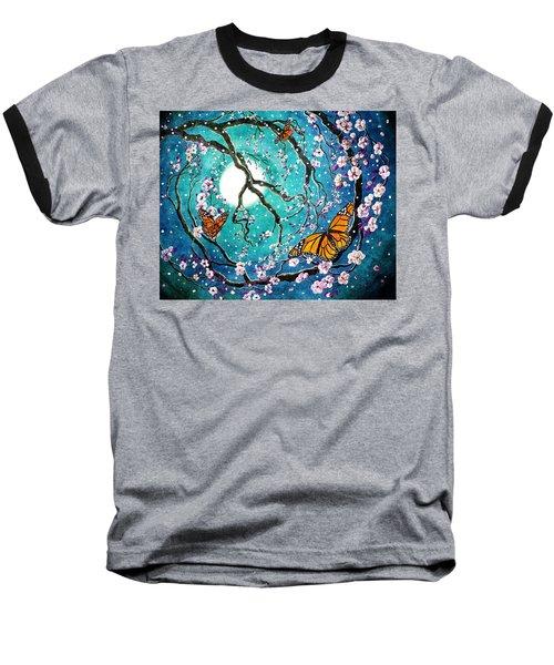 Monarch Butterflies In Teal Moonlight Baseball T-Shirt by Laura Iverson
