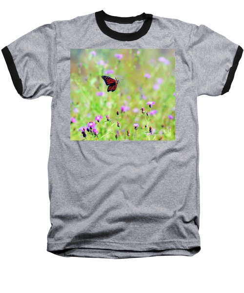 Baseball T-Shirt featuring the photograph Monarch Butterfly In Flight Over The Wildflowers by Kerri Farley