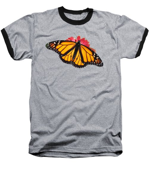 Baseball T-Shirt featuring the photograph Monarch Butterfly On Red Mums by Christina Rollo