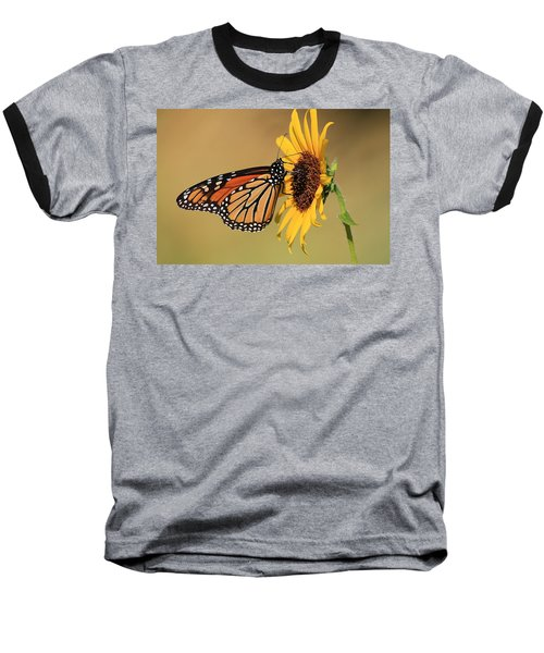 Monarch Butterfly On Sun Flower Baseball T-Shirt