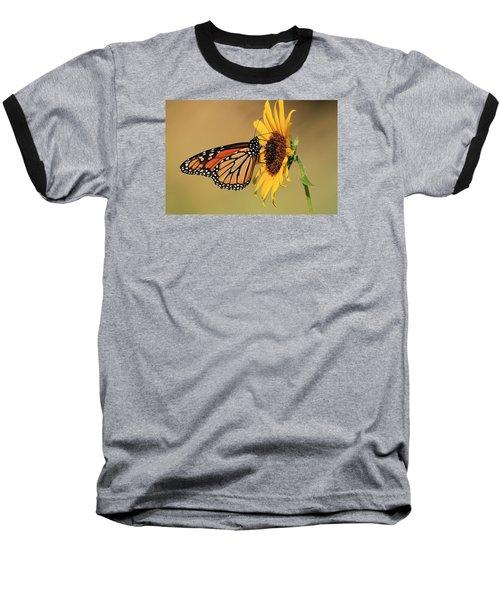 Monarch Butterfly On Sun Flower Baseball T-Shirt