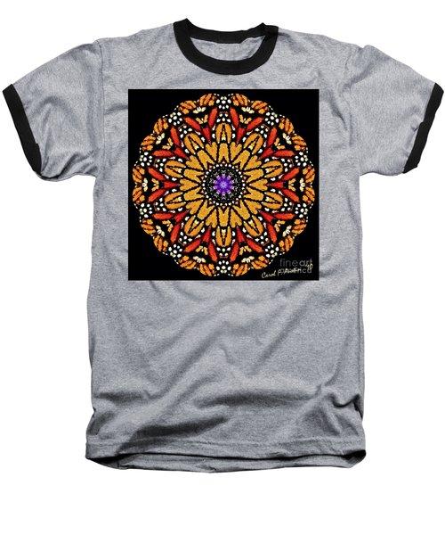 Monarch Butterfly Wings Kaleidoscope Baseball T-Shirt by Carol F Austin