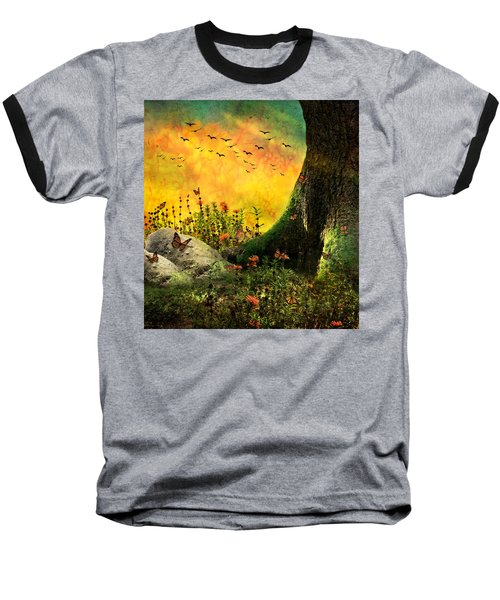 Monarch Meadow Baseball T-Shirt by Ally  White