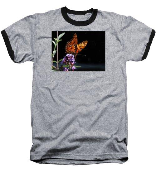 Monarch On Purple Flowers Baseball T-Shirt