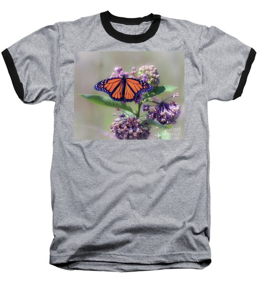 Baseball T-Shirt featuring the photograph Monarch On The Milkweed by Kerri Farley
