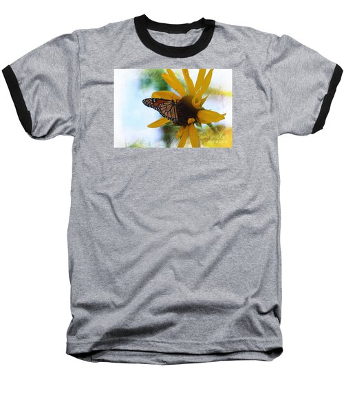 Baseball T-Shirt featuring the photograph Monarch With Sunflower by Yumi Johnson