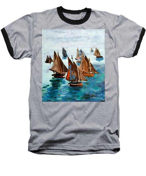 Monet Fishing Boats Calm Seas Baseball T-Shirt by Scott D Van Osdol