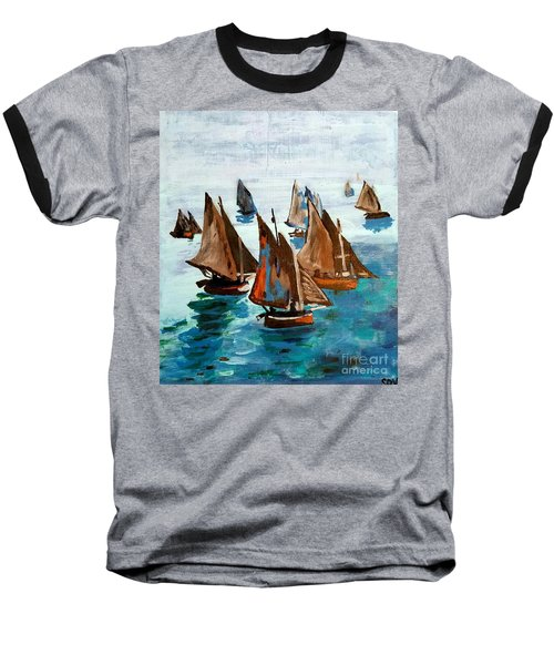 Monet Fishing Boats Calm Seas Baseball T-Shirt