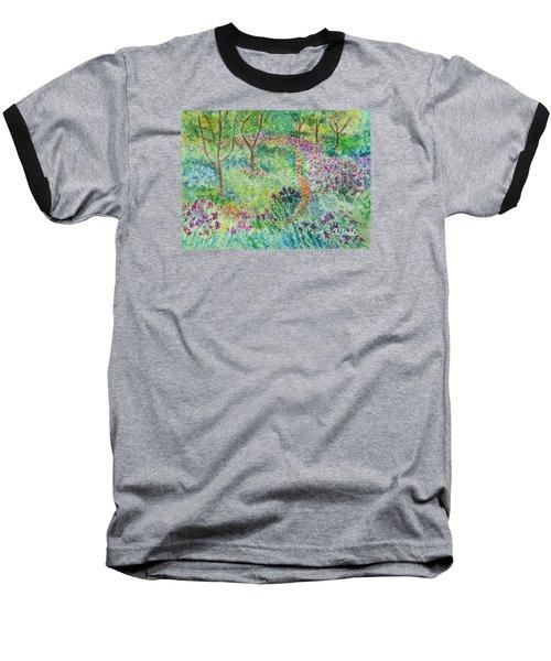 Monet Inspired Iris Garden Baseball T-Shirt