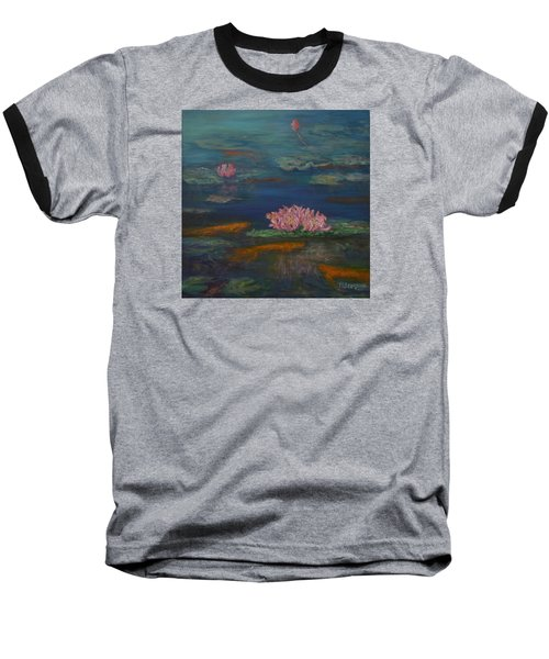 Monet Inspired Water Lilies With Gold Fish In A Pond Baseball T-Shirt