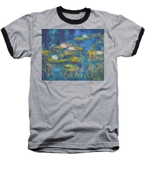 Monet Style Water Lily Marsh Wetland Landscape Painting Baseball T-Shirt