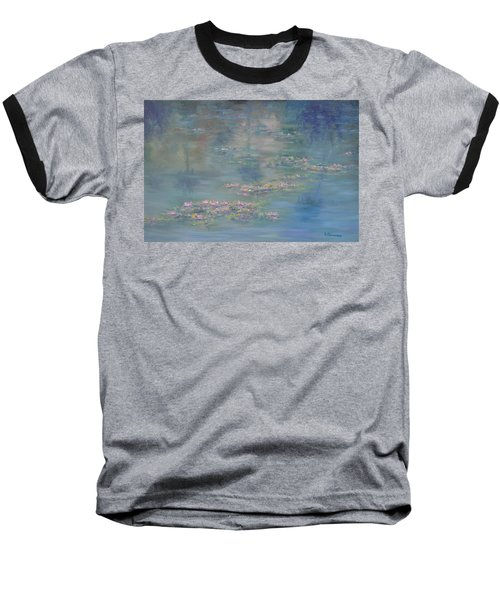 Monet Style Water Lily Peaceful Tropical Garden Painting Print Baseball T-Shirt