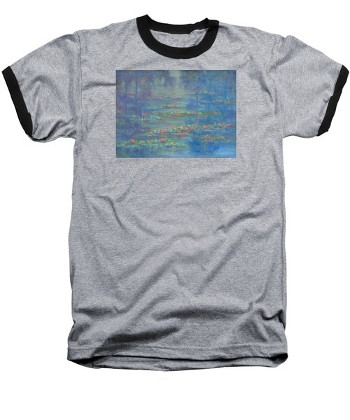 Monet Style Water Lily Pond Landscape Painting Baseball T-Shirt