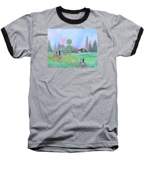 Baseball T-Shirt featuring the painting Monet's Field Of Poppies by Stacey Zimmerman