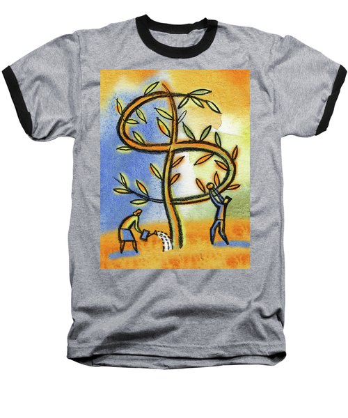 Baseball T-Shirt featuring the painting Money Tree by Leon Zernitsky