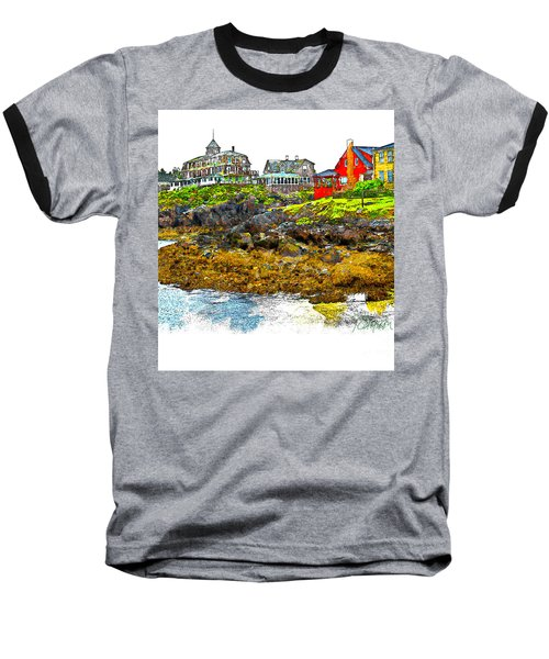 Baseball T-Shirt featuring the photograph Monhegan West Shore by Tom Cameron