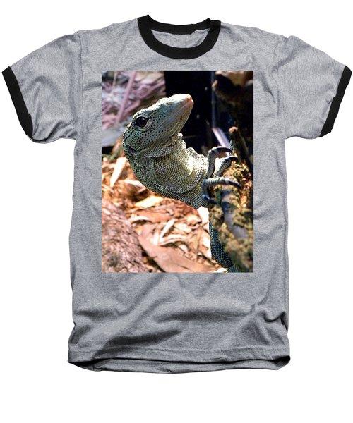 Monitor Lizard 002 Baseball T-Shirt by Chris Mercer