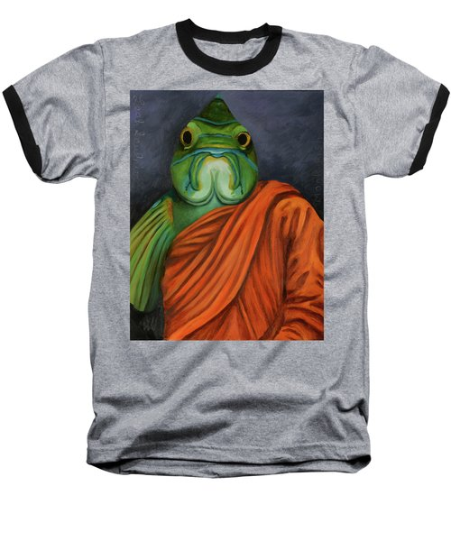 Baseball T-Shirt featuring the painting Monk Fish by Leah Saulnier The Painting Maniac