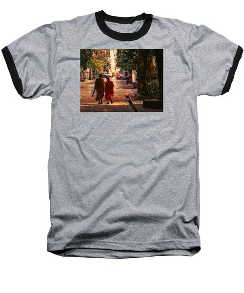 Baseball T-Shirt featuring the digital art Monk Mates by Cameron Wood