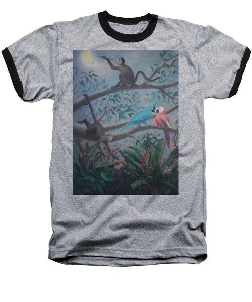 Monkey Artist Painting The Moon  Baseball T-Shirt