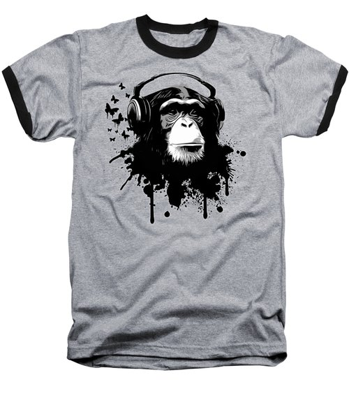 Monkey Business - Black Baseball T-Shirt by Nicklas Gustafsson