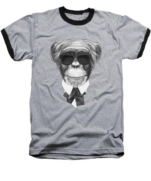 Monkey In Black Baseball T-Shirt by Marco Sousa