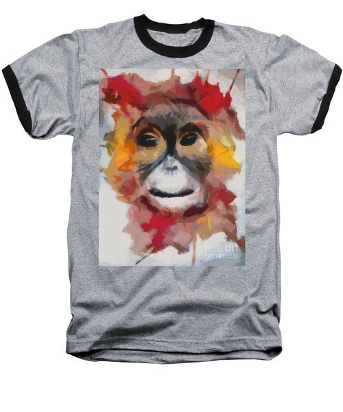 Monkey Splat Baseball T-Shirt by Catherine Lott