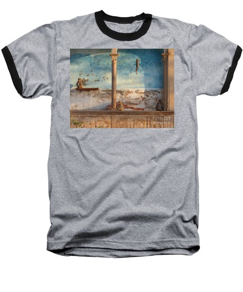 Baseball T-Shirt featuring the photograph Monkeys At Sunset by Jean luc Comperat