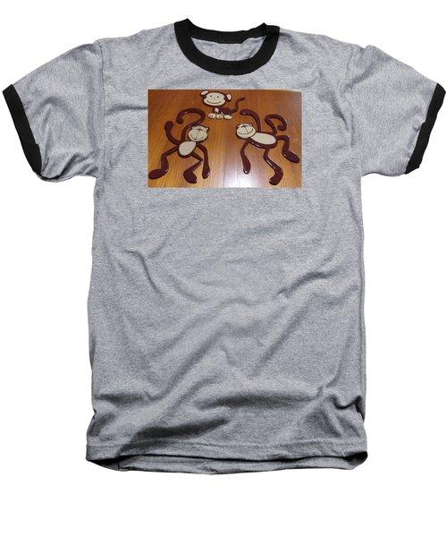 Monkeys Baseball T-Shirt by Val Oconnor