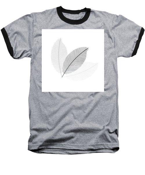 Monochrome Leaves Baseball T-Shirt