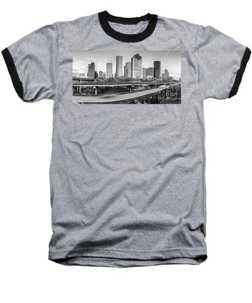 Monochrome Panorama Of Downtown Houston Skyline From Buffalo Bayou Park - Harris County Houston Texa Baseball T-Shirt