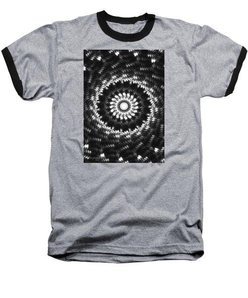 Monochrome Petals Mandala Baseball T-Shirt