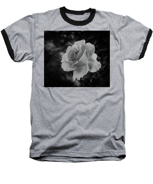 Monochrome Rose Macro Baseball T-Shirt