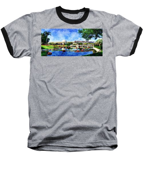 Monorail Red - Coming 'round The Bend Baseball T-Shirt by Sandy MacGowan