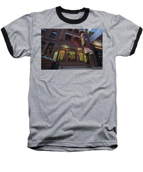 Baseball T-Shirt featuring the photograph Monroe St Steakhouse by Nicholas Grunas