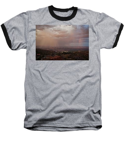 Baseball T-Shirt featuring the photograph Monsoon Lightning And Rainbow by Ron Chilston