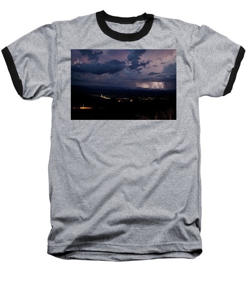 Monsoon Lightning Over Sedona From Jerome Az Baseball T-Shirt by Ron Chilston