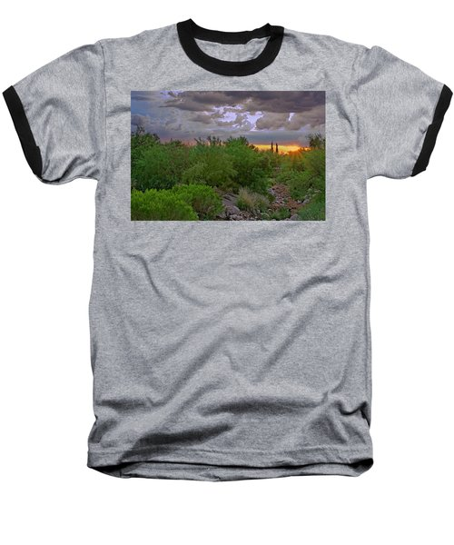 Baseball T-Shirt featuring the photograph Monsoon Sunset H56 by Mark Myhaver