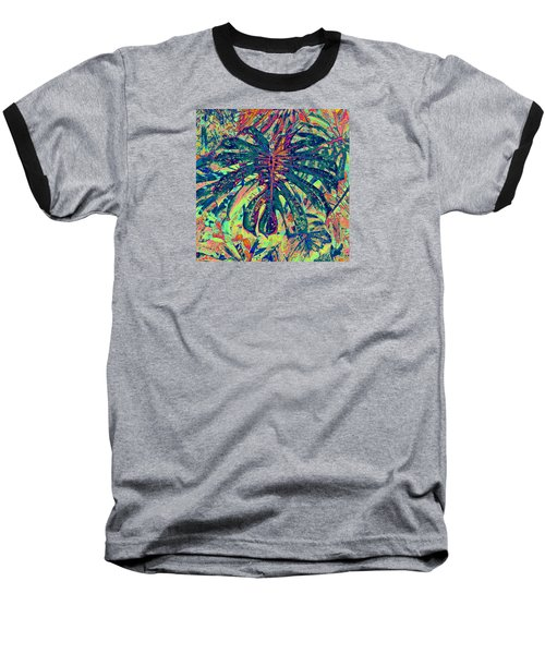 Monstera Leaf Patterns - Square Baseball T-Shirt by Kerri Ligatich