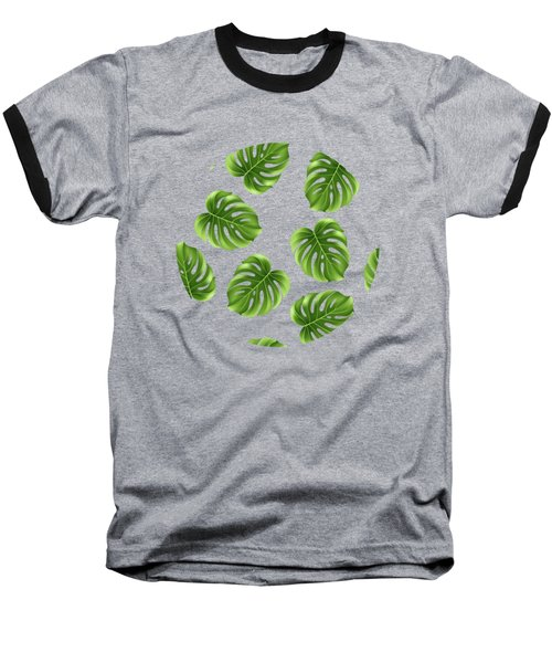 Monstera Leaves Greenery Tropical Aloha Bohemian Decor Baseball T-Shirt