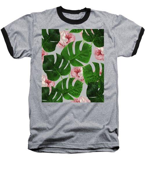 Monstera Rose Pattern Baseball T-Shirt by Uma Gokhale