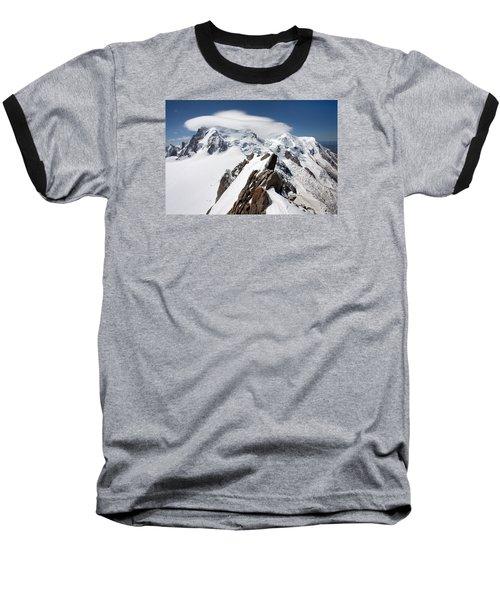 Mont Blanc And Ufo Baseball T-Shirt by Aivar Mikko