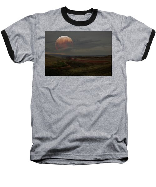 Montana Landscape On Blood Moon Baseball T-Shirt