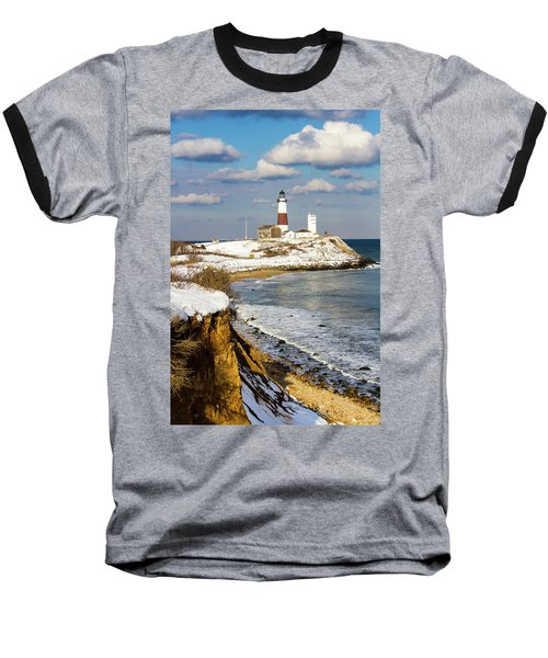 Montauk Lighthouse Winter Bluffs Baseball T-Shirt