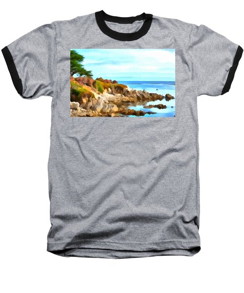Baseball T-Shirt featuring the photograph Monterey Coastline Watercolor by Floyd Snyder
