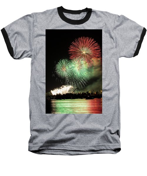 Montreal-fireworks Baseball T-Shirt by Mircea Costina Photography