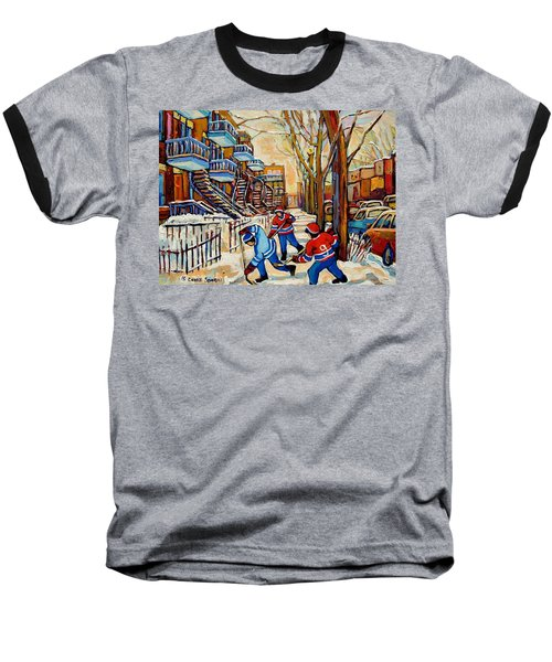 Montreal Hockey Game With 3 Boys Baseball T-Shirt