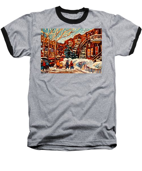 Montreal Street In Winter Baseball T-Shirt