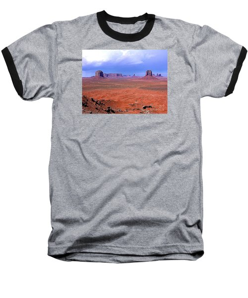 Monument Valley Panorama Landscape Baseball T-Shirt by Merton Allen